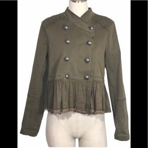 FREE PEOPLE Ruffle Double Breasted Military Jacket